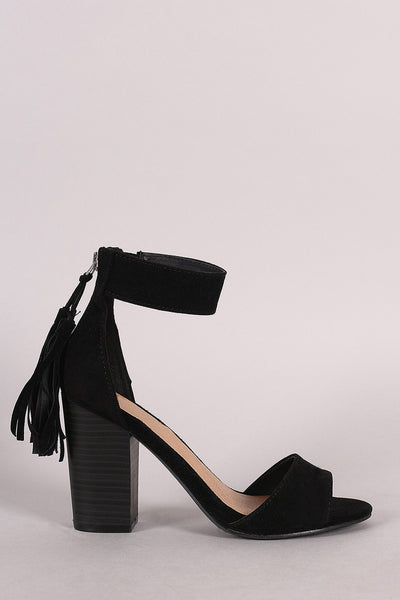 Breckelle Suede Tassel Ankle Cuff Chunky Heel