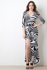Deep V Wrap Maxi Dress