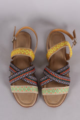 Embroidered Open Toe Slingback Flat Sandal