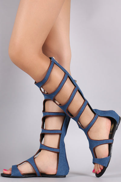 Denim Strappy Gladiator Flat Sandal