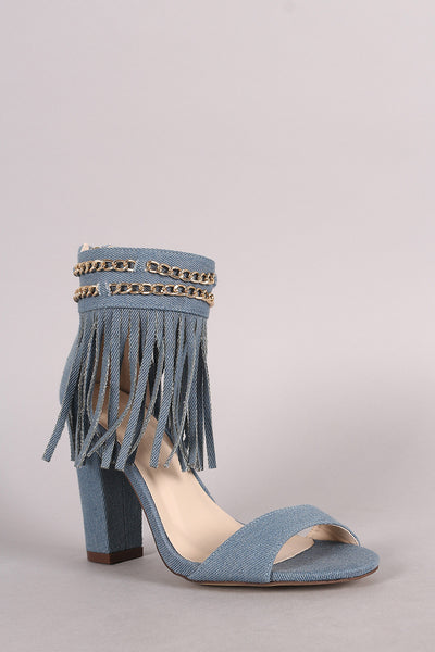 Denim Chained Fringe Cuff Chunky Heel