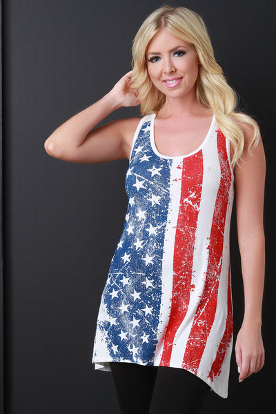 American Flag Print Racerback High Low Top