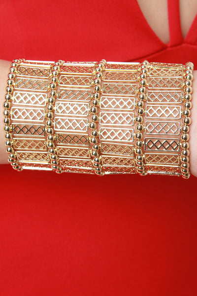 Diamond Grid Cuff Bracelet