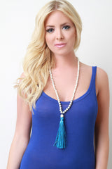 Cracked Bead and Tassel Necklace