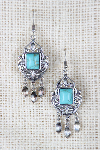 Faux Square Stone Chandelier Earrings