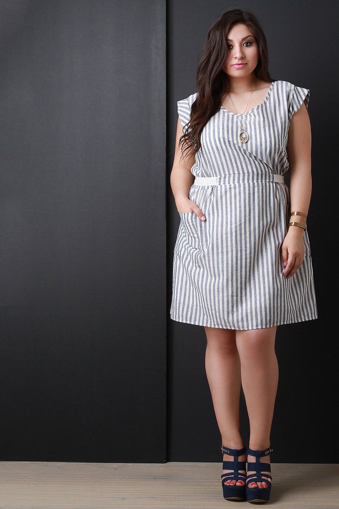 Relaxed Pinstripe Short Sleeve Dress