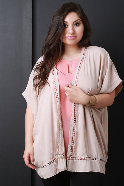 Crochet Lace Short Sleeve Open Front Cardigan