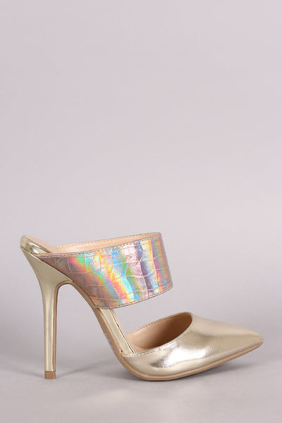 Wild Diva Lounge Hologram Two-Piece Pointy Toe Stiletto Pump