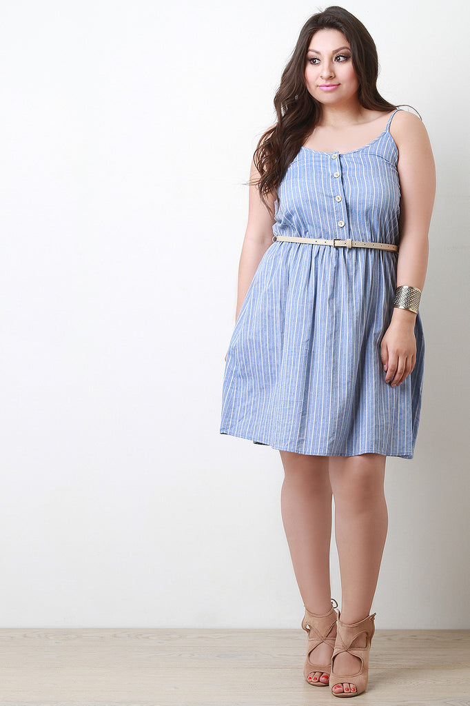 Belted Button-Up Striped Sundress