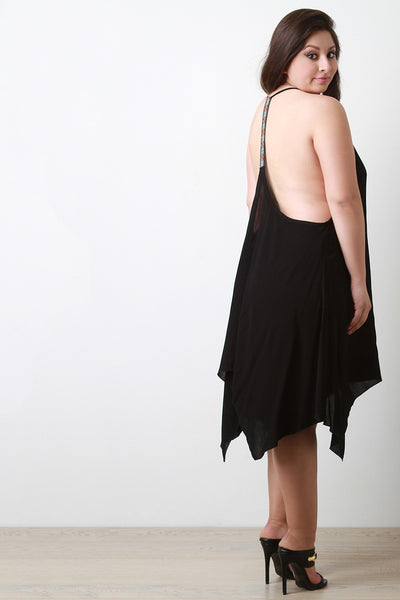 Embroidered T-Back Handkerchief Hem Dress