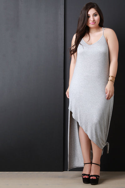 Jersey Knit Tie Hem Scoop Neck Maxi Dress