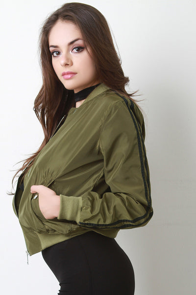 Double Stripe Sleeve Bomber Jacket