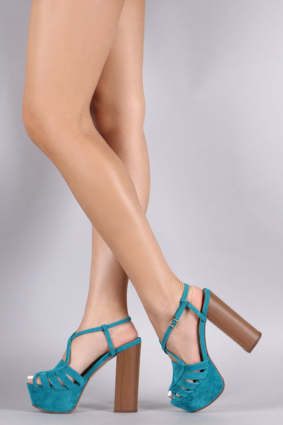 Breckelle Open Toe Cage Cross Strap Chunky Heel