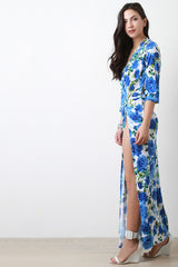 Bloomed Florals Surplice High Slit Maxi Dress