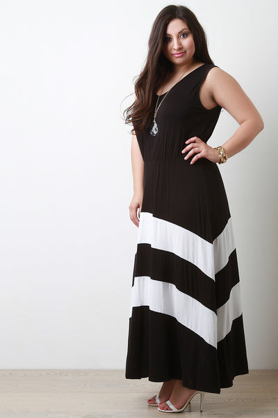 Jersey Knit Striped V-Neck Sleeveless Maxi Dress