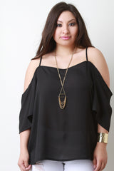 Chiffon Off-The-Shoulder Quarter Sleeve Top