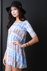 Tie Dye Stripe Shift Mini Dress