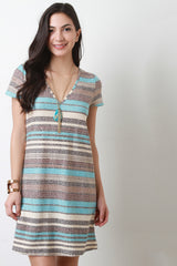 Deep V Striped Tee Shirt Dress