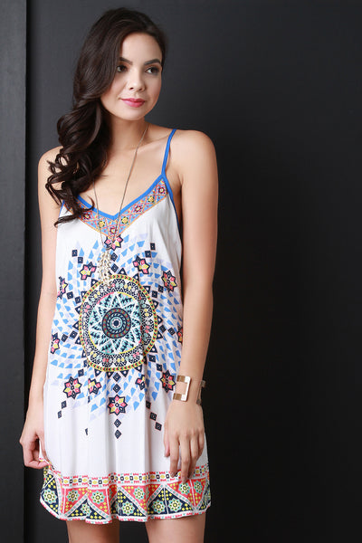 Boho Tribal Sleeveless Shift Dress