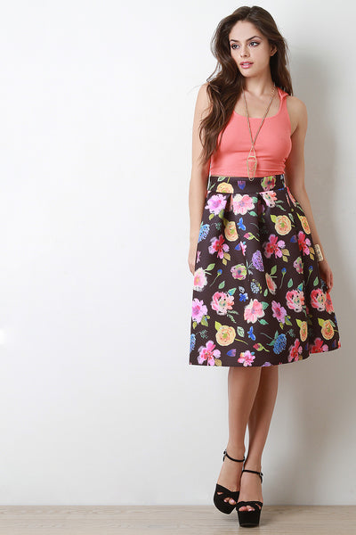 Watercolor Floral Scuba Pleated Midi Skirt