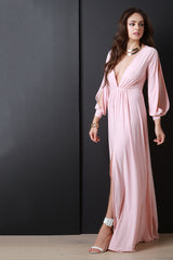 Deep V Neck Thigh High Slit Maxi Dress