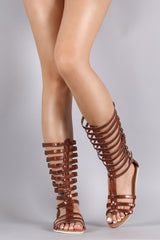 Gladiator Glitter Strappy Buckle Flat Sandal