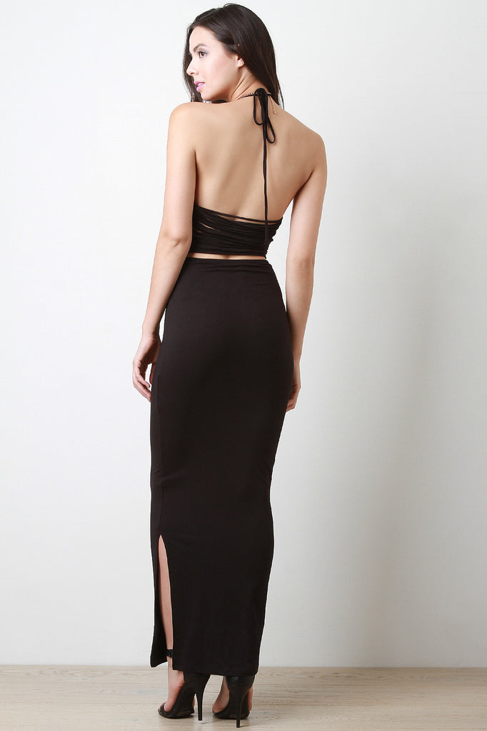 Halter Neck Strappy Back Slit Maxi Dress