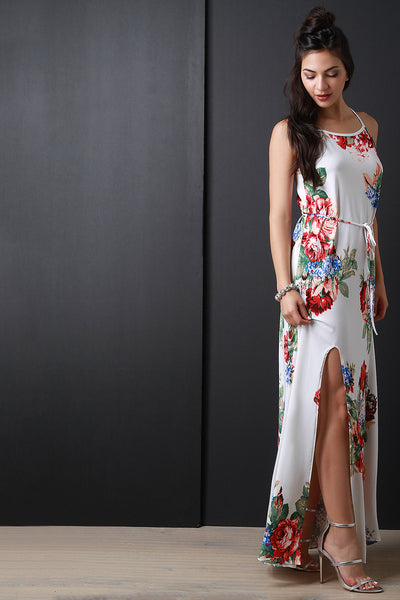Floral Print Deep Slit Sleeveless Waist-Tie Maxi Dress
