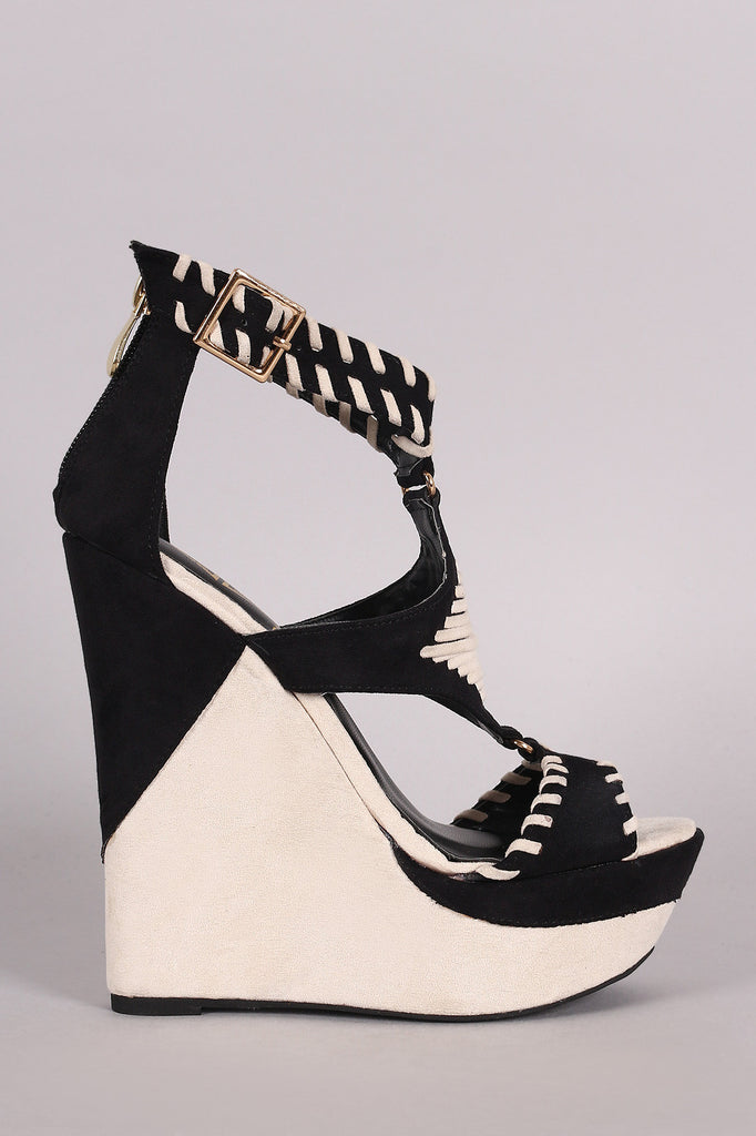 Two Tone Suede Whip Stitched Cutout Platform Wedge