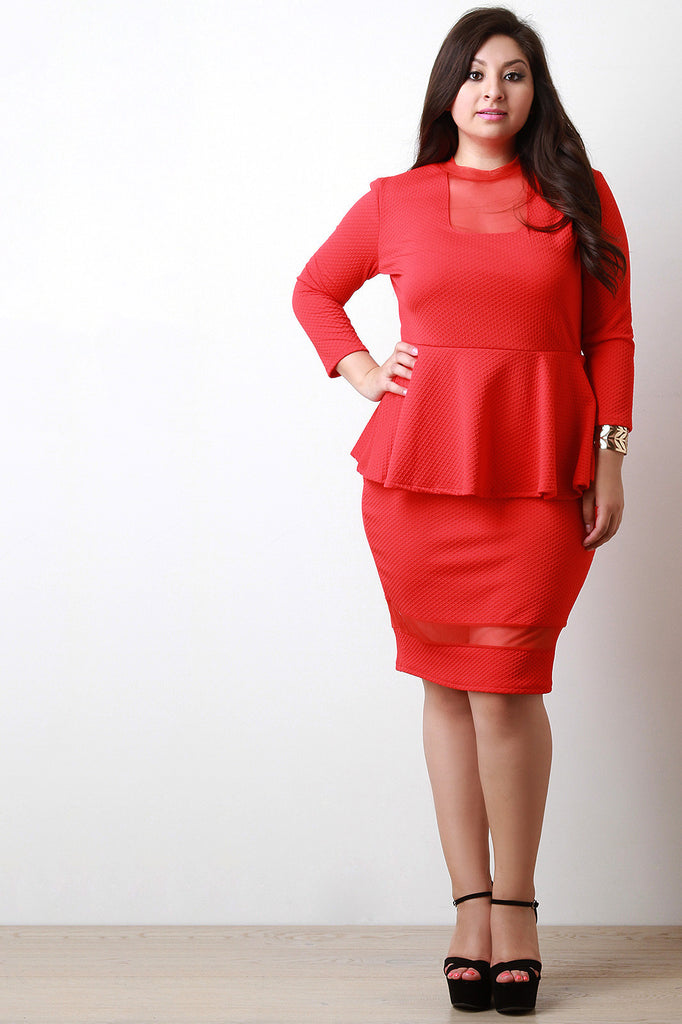 Mesh Contrast Peplum Dress