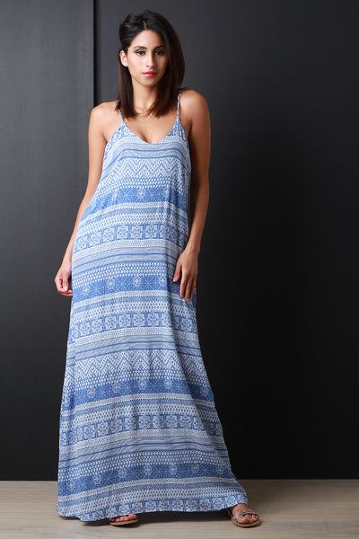Boho Stripe Low Back Maxi Dress