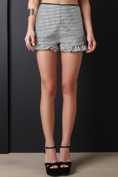 Ruffle Hem High Waisted Striped Shorts