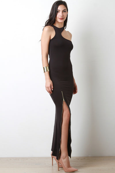 Asymmetrical Cutaway Zipper Slit Maxi Dress - JDI Threads