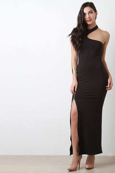 Asymmetrical Cutaway Zipper Slit Maxi Dress