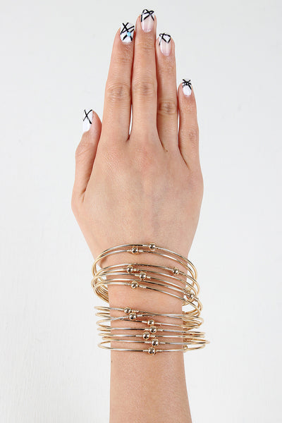 Stacked Multi Wire Cuff Bracelet