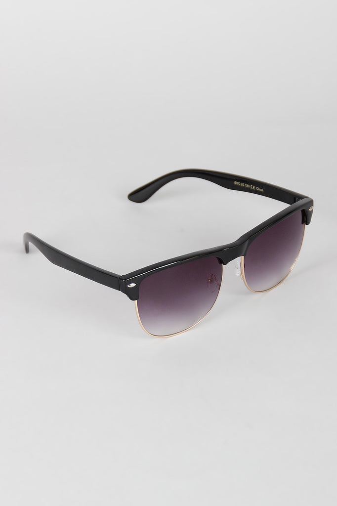 Semi-Rimless Metal and Plastic Sunglasses