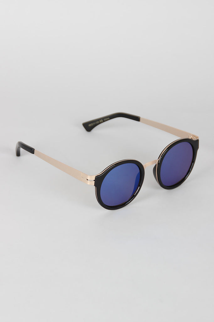 Retro Metal and Plastic Round Sunglasses