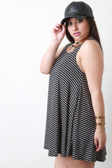 Stripe Sleeveless Flowy Shift Dress