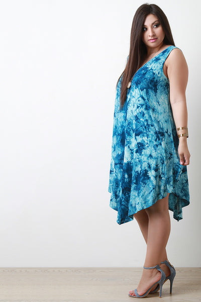 Deep V Tie Dye Print Asymmetrical Dress