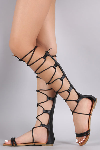 Braided Lace Up Gladiator Sandal