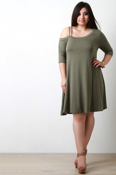 Asymmetrical Cold Shoulder Shift Dress - JDI Threads