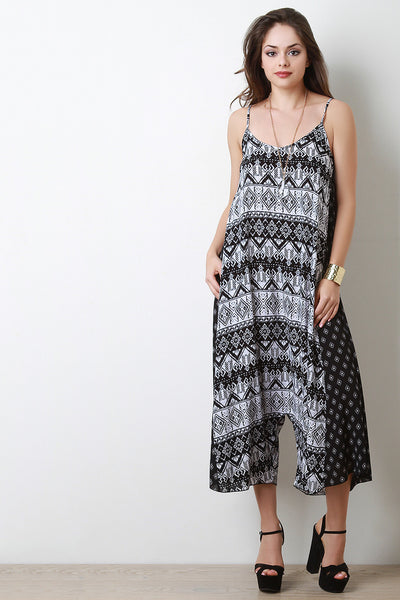 Flowy Mixed Print Drop Crotch Jumpsuit