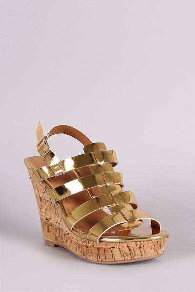 Qupid Mirror Metallic Strappy Slingback Platform Wedge