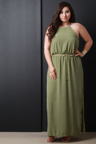 High Neck Cinched Waist Maxi Dress