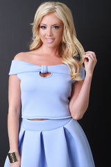 Neoprene Bardot Off the Shoulder Bow Crop Top