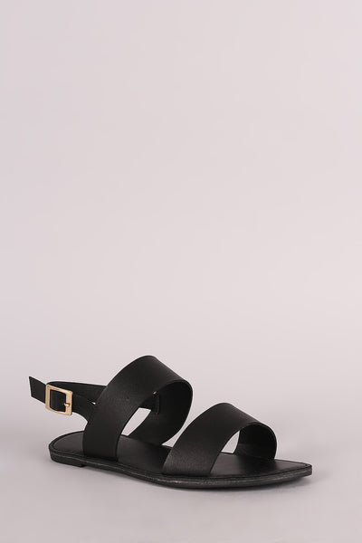 Double Band Open Toe Slingback Flat Sandal