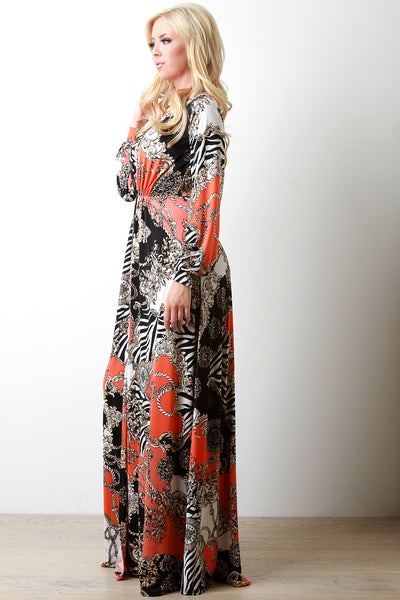 Abstract Chains and Ropes Plunging V High Slit Maxi Dress