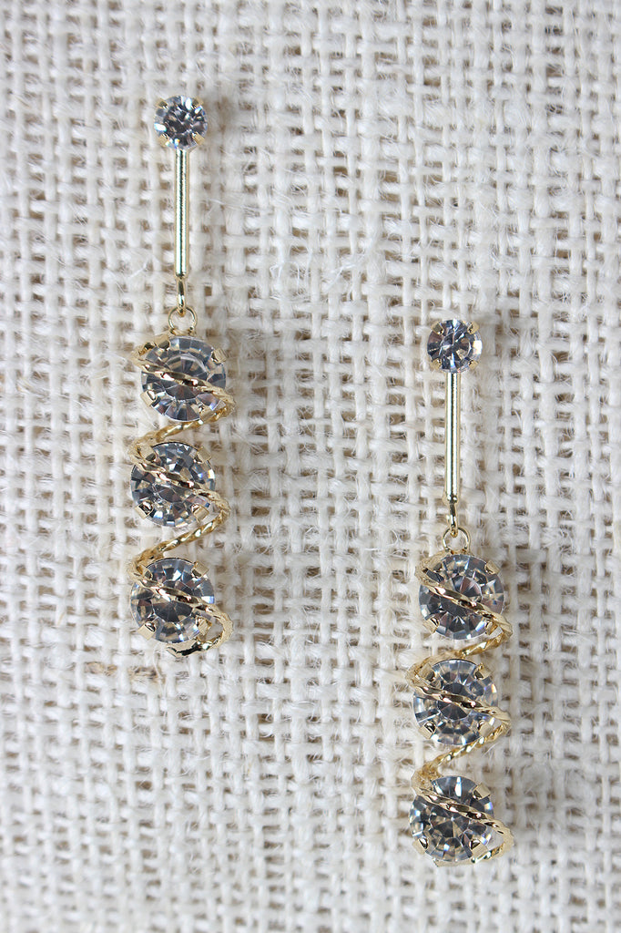 Spiral Rhinestone Drop Earrings