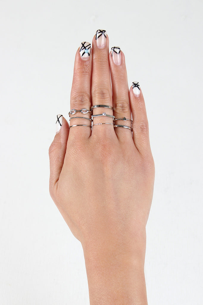 Heart and Chain Stacking Ring Set