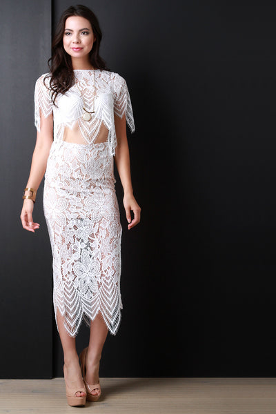 High Waist Floral Crochet Lace Midi Skirt